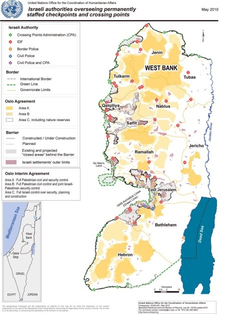 Israel areas A, B and C map