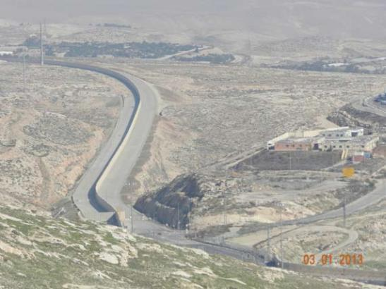 """A completed section of the Palestinian bypass road. Its final completion will enable transportation continuity between the northern and southern West Bank, similar to other existing """"fabric of life"""" roads built for the Palestinians. Credit: JCPA"""